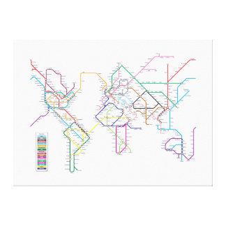 Mapa del metro del mundo impresión en lona estirada