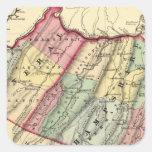Mapa del mineral, condados de Hampshire Pegatina Cuadrada