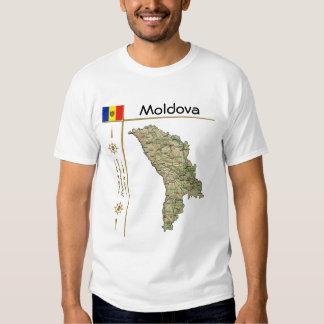 Mapa del Moldavia + Bandera + Camiseta del título Poleras