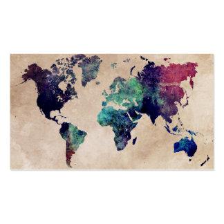 mapa del mundo 10 tarjetas de visita