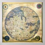 Mapa del mundo 1450 del monje veneciano Fra Mauro Posters