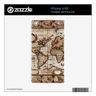 Mapa del mundo 1499 w el protector del dispositivo iPhone 4 calcomanía