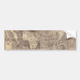 Mapa del mundo 1507 de Martin Waldseemuller Pegatina De Parachoque