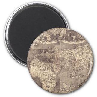 Mapa del mundo 1507 de Martin Waldseemuller Imán Redondo 5 Cm