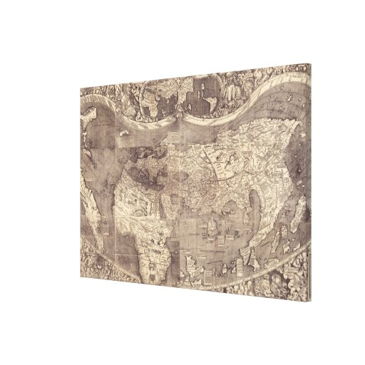 Mapa del mundo 1507 de Martin Waldseemuller Impresiones En Lienzo Estiradas
