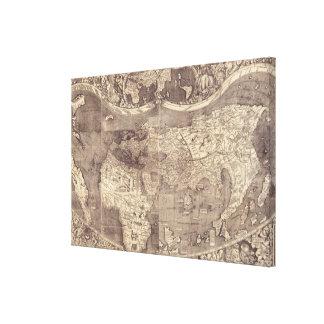 Mapa del mundo 1507 de Martin Waldseemuller Impresión En Lienzo Estirada