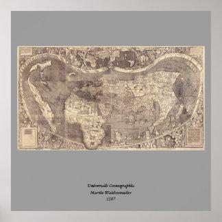 Mapa del mundo 1507 de Martin Waldseemuller Poster