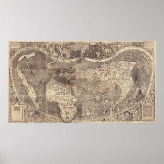 Mapa del mundo 1507 de Martin Waldseemuller Posters