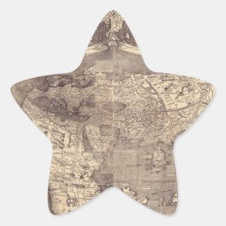 Mapa del mundo 1507 de Martin Waldseemuller Pegatina En Forma De Estrella
