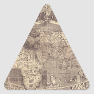 Mapa del mundo 1507 de Martin Waldseemuller Pegatina Triangular