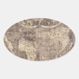 Mapa del mundo 1507 de Martin Waldseemuller Pegatina Ovalada