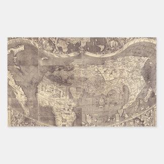Mapa del mundo 1507 de Martin Waldseemuller Pegatina Rectangular