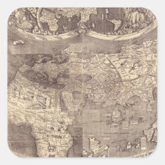 Mapa del mundo 1507 de Martin Waldseemuller Pegatina Cuadrada