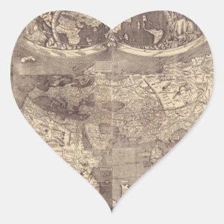 Mapa del mundo 1507 de Martin Waldseemuller Pegatina En Forma De Corazón