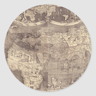 Mapa del mundo 1507 de Martin Waldseemuller Pegatina Redonda