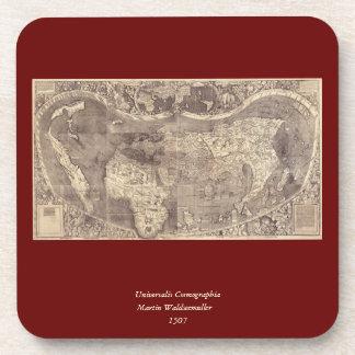 Mapa del mundo 1507 de Martin Waldseemuller Posavasos