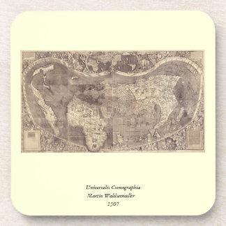 Mapa del mundo 1507 de Martin Waldseemuller Posavasos De Bebida