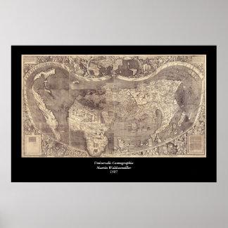 Mapa del mundo 1507 de Martin Waldseemuller Póster
