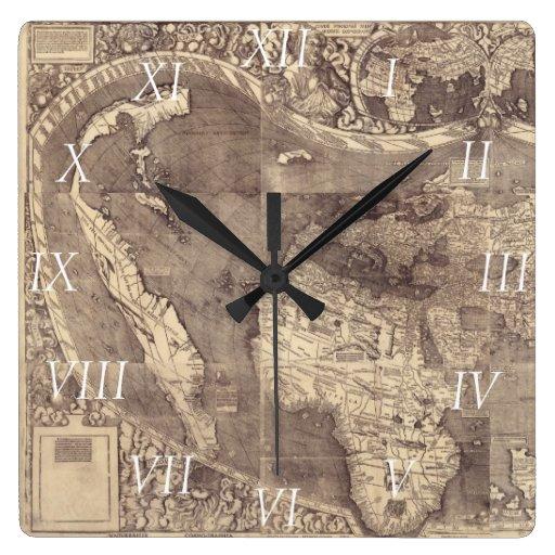 Mapa del mundo 1507 de Martin Waldseemuller Reloj Cuadrado