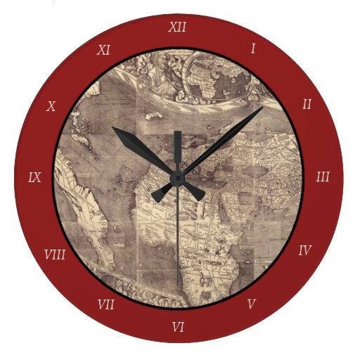 Mapa del mundo 1507 de Martin Waldseemuller Reloj De Pared