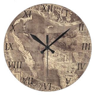 Mapa del mundo 1507 de Martin Waldseemuller Reloj Redondo Grande