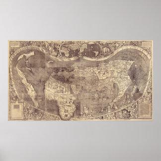 Mapa del mundo 1507 del vintage de Martin Waldseem Impresiones