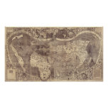 Mapa del mundo 1507 del vintage de Martin Waldseem Póster