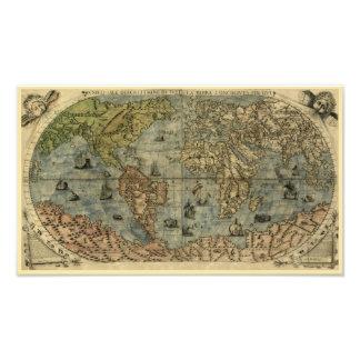 Mapa del mundo 1565 de Berteli Impresión Fotográfica
