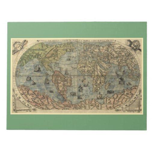 Mapa del mundo 1565 de Ferando Berteli (Fernando B Libretas Para Notas