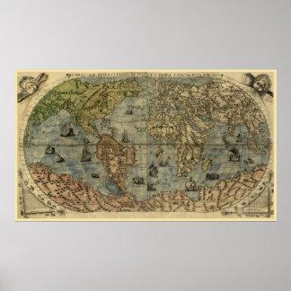 Mapa del mundo 1565 de Ferando Berteli (Fernando B Impresiones