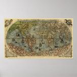 Mapa del mundo 1565 de Ferando Berteli (Fernando B Poster