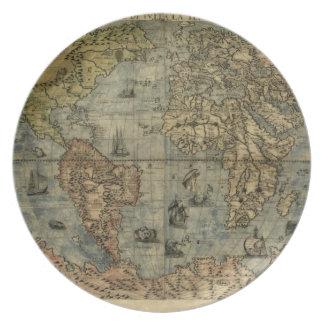 Mapa del mundo 1565 de Ferando Berteli (Fernando B Plato Para Fiesta