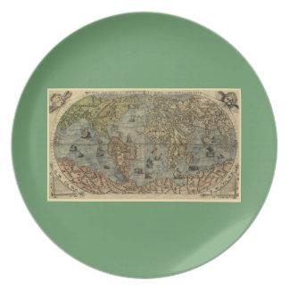 Mapa del mundo 1565 de Ferando Berteli (Fernando B Platos De Comidas