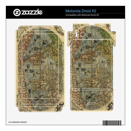 Mapa del mundo 1565 de Ferando Berteli (Fernando B Motorola Droid X2 Calcomanías