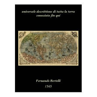 Mapa del mundo 1565 de Ferando Berteli (Fernando B Tarjetas Postales
