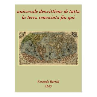 Mapa del mundo 1565 de Ferando Berteli (Fernando B Tarjeta Postal