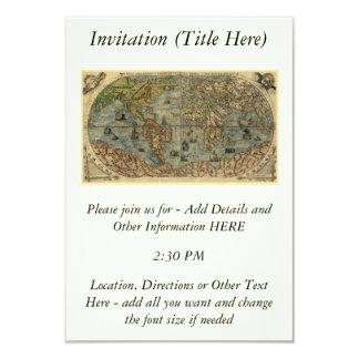 """Mapa del mundo 1565 de Ferando Berteli (Fernando Invitación 3.5"""" X 5"""""""