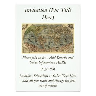 """Mapa del mundo 1565 de Ferando Berteli (Fernando Invitación 6.5"""" X 8.75"""""""