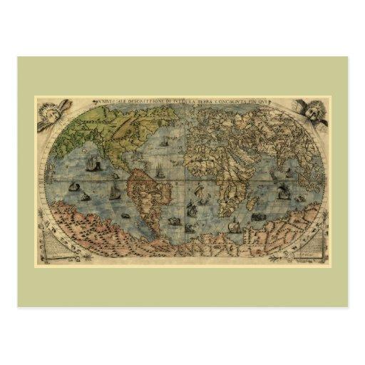 Mapa del mundo 1565 de Ferando Berteli (Fernando Postales