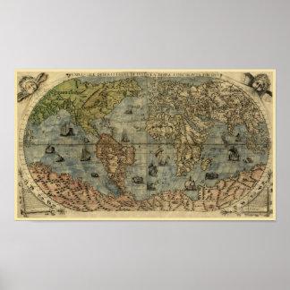 Mapa del mundo 1565 de Ferando Berteli (Fernando Póster