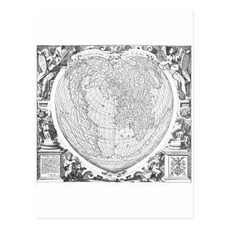 Mapa del mundo 1566 tarjeta postal