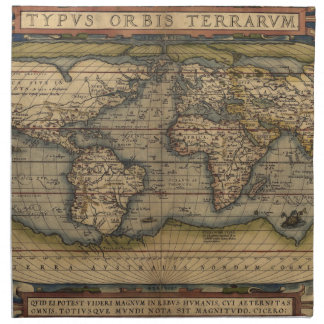 Mapa del mundo 1570 de Ortelius Servilleta De Papel
