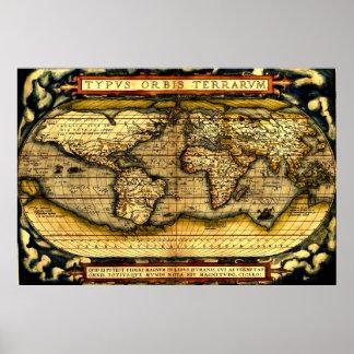 Mapa del mundo 1570 de Ortellius Posters