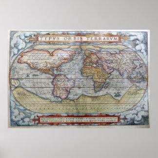 Mapa del mundo 1572 de Typus Orbis Terrarum Orteli Posters