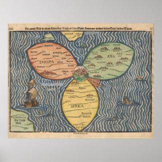 Mapa del mundo 1581 póster