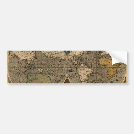 Mapa del mundo 1595 del vintage de Jodocus Hondius Etiqueta De Parachoque