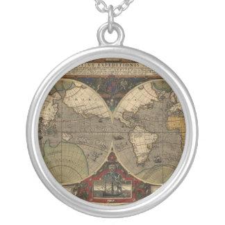 Mapa del mundo 1595 del vintage de Jodocus Hondius Colgantes