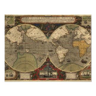 """Mapa del mundo 1595 del vintage de Jodocus Hondius Invitación 4.25"""" X 5.5"""""""