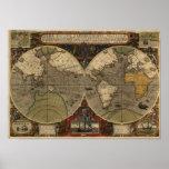 Mapa del mundo 1595 del vintage de Jodocus Hondius Poster
