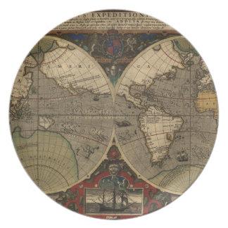 Mapa del mundo 1595 del vintage de Jodocus Hondius Plato Para Fiesta
